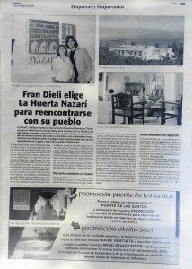 Artículo en Ideal en el que se narra la estancia de Fran Dieli en el Hotel Huerta Nazarí